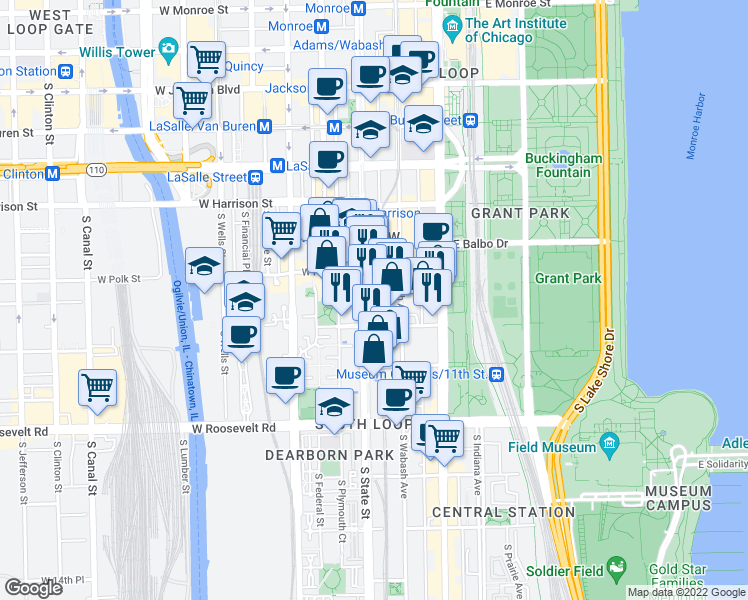 map of restaurants, bars, coffee shops, grocery stores, and more near 800-898 South Holden Court in Chicago