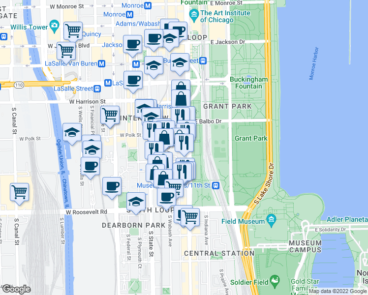 map of restaurants, bars, coffee shops, grocery stores, and more near 808 South Michigan Avenue in Chicago