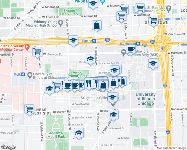 map of restaurants, bars, coffee shops, grocery stores, and more near 811 South Lytle Street in Chicago