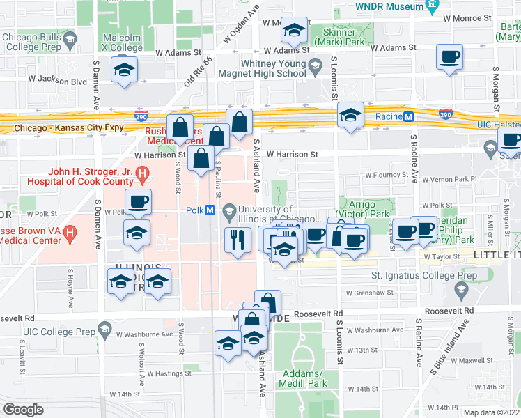 map of restaurants, bars, coffee shops, grocery stores, and more near S Ashland Ave & W Polk St in Chicago