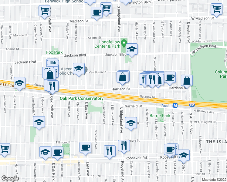 map of restaurants, bars, coffee shops, grocery stores, and more near 904 South Elmwood Avenue in Oak Park