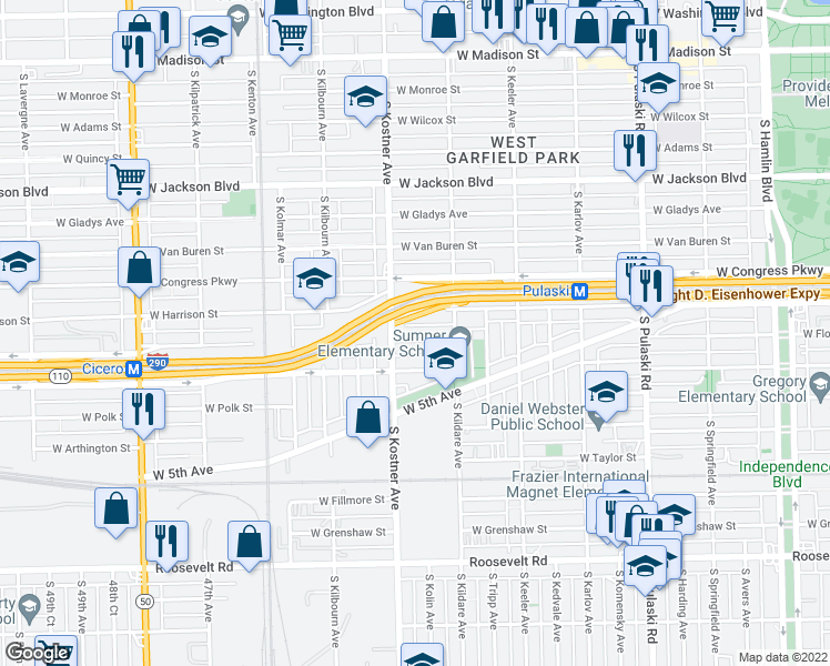 map of restaurants, bars, coffee shops, grocery stores, and more near 4338 W Flournoy St in Chicago