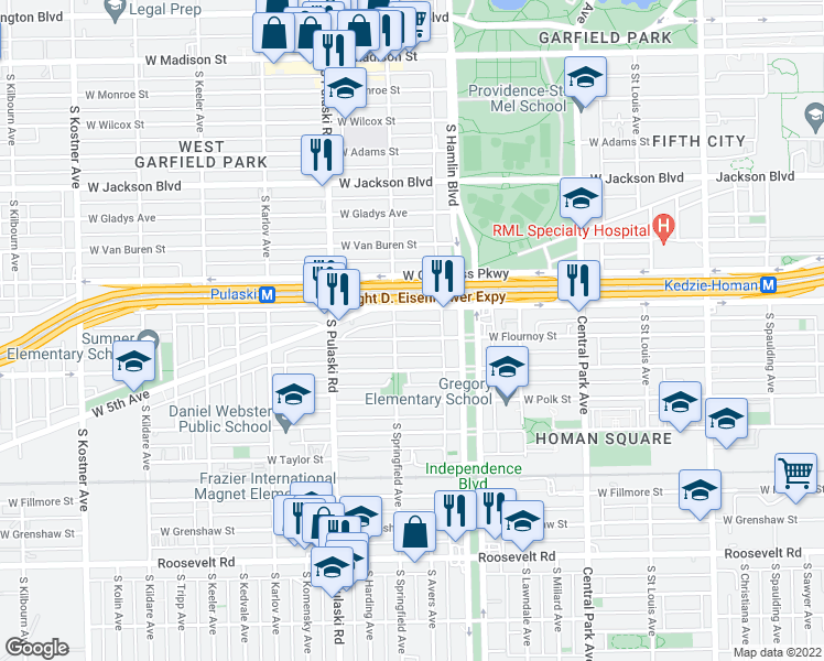 map of restaurants, bars, coffee shops, grocery stores, and more near 3846 West Flournoy Street in Chicago