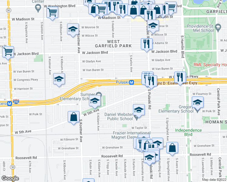 map of restaurants, bars, coffee shops, grocery stores, and more near 612 South Keeler Avenue in Chicago