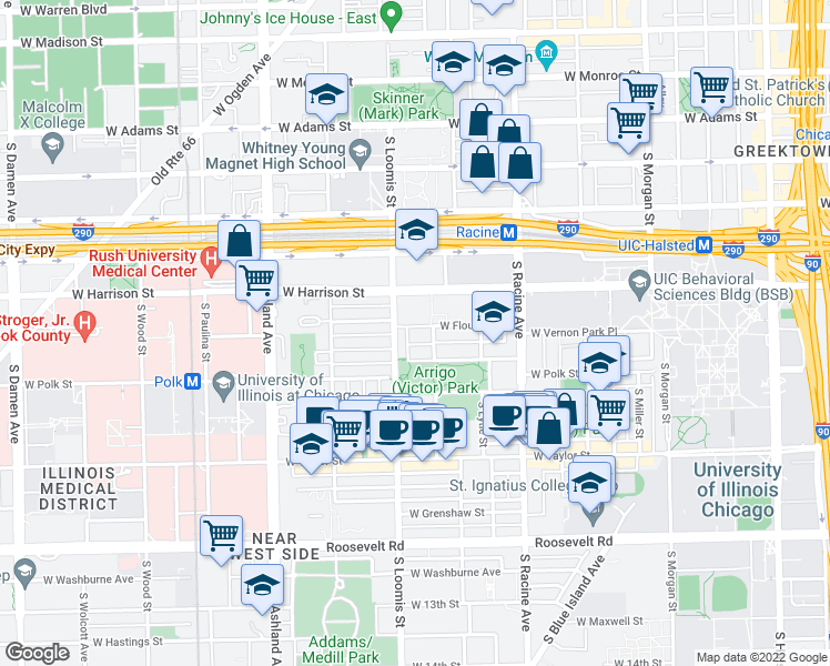 map of restaurants, bars, coffee shops, grocery stores, and more near 1343 West Flournoy Street in Chicago