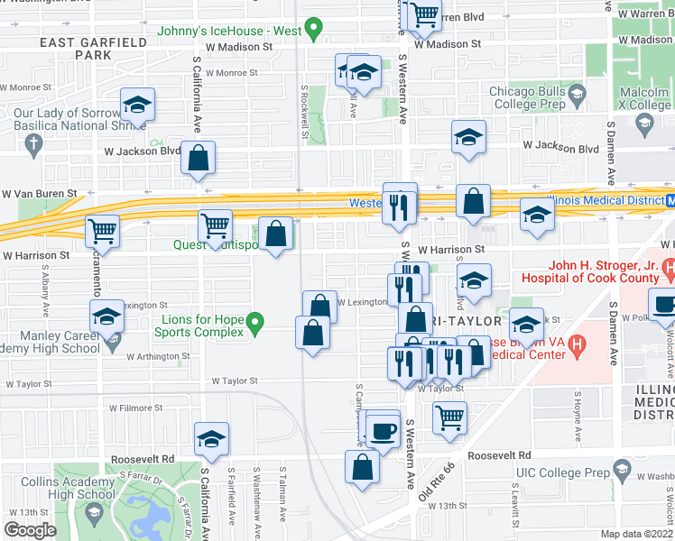 map of restaurants, bars, coffee shops, grocery stores, and more near 2522 West Flournoy Street in Chicago