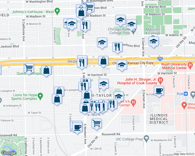map of restaurants, bars, coffee shops, grocery stores, and more near 610 S Oakley Blvd in Chicago