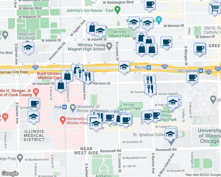 map of restaurants, bars, coffee shops, grocery stores, and more near 1426 West Flournoy Street in Chicago