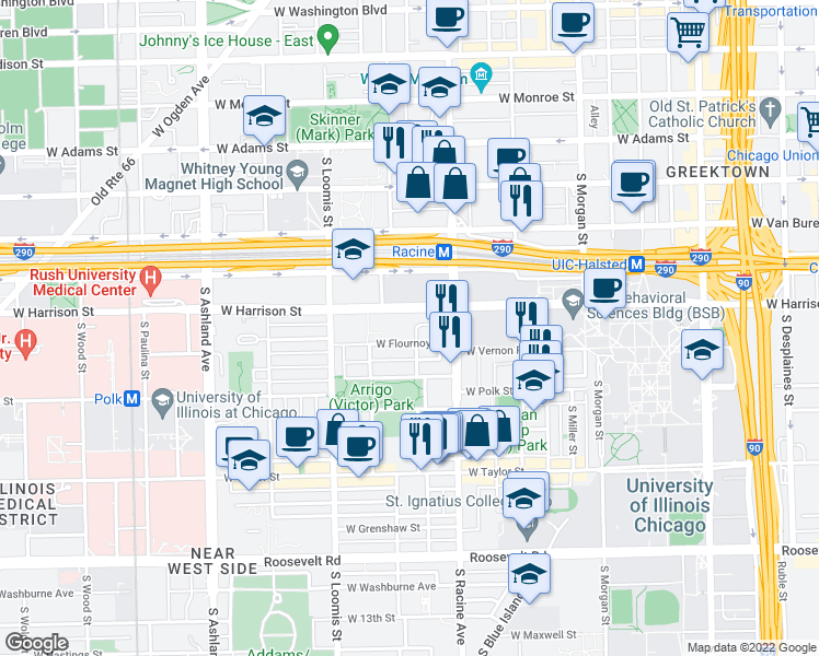 map of restaurants, bars, coffee shops, grocery stores, and more near 1311 West Westgate Terrace in Chicago
