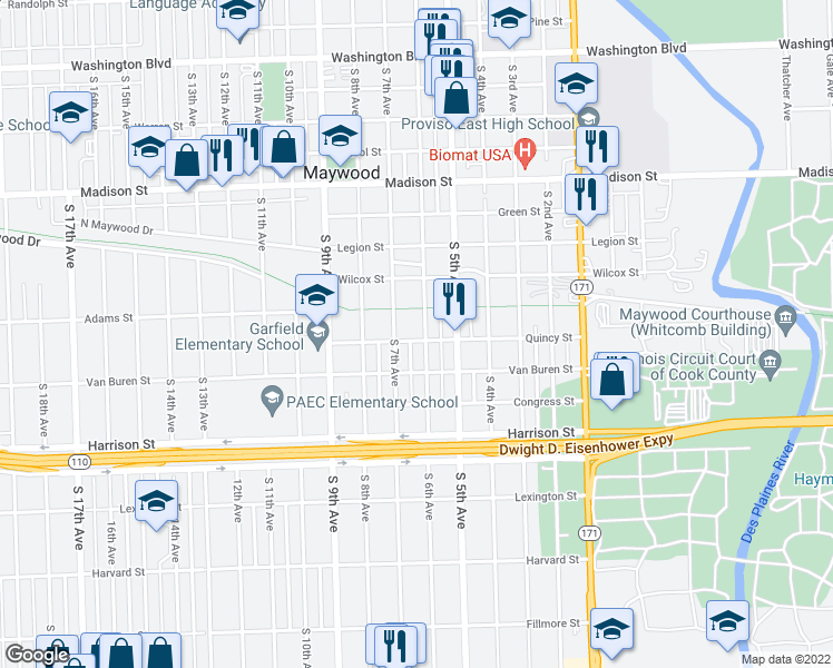 map of restaurants, bars, coffee shops, grocery stores, and more near 1504 South 6th Avenue in Maywood