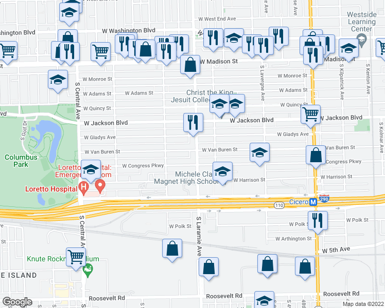 map of restaurants, bars, coffee shops, grocery stores, and more near 400 South Laramie Avenue in Chicago