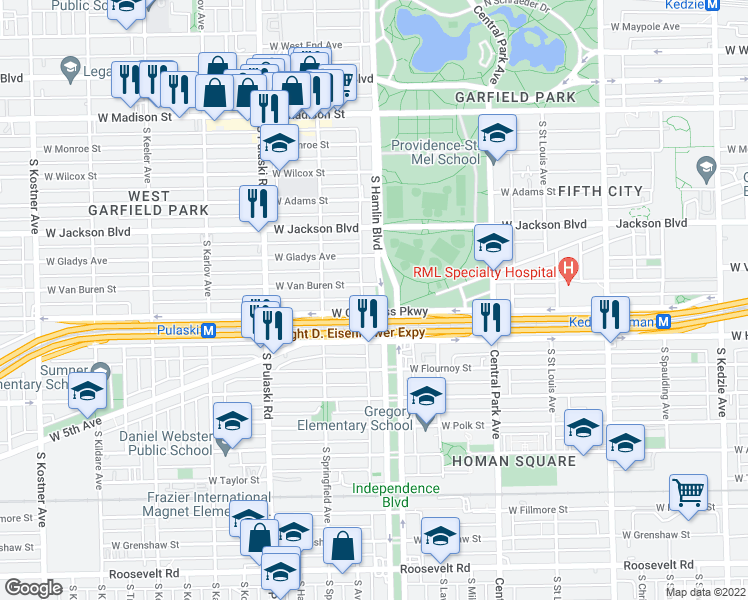 map of restaurants, bars, coffee shops, grocery stores, and more near 414 South Hamlin Boulevard in Chicago