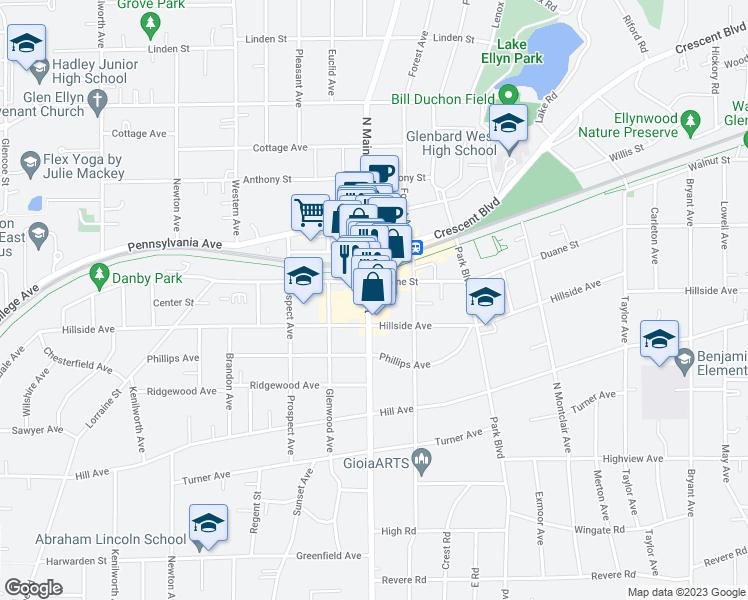 Glen Ellen Illinois Map.419 North Main Street Glen Ellyn Il Walk Score