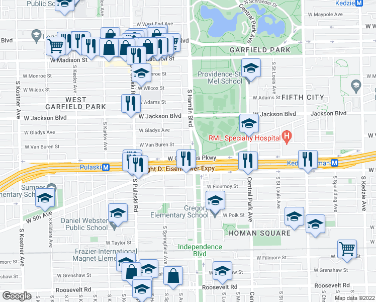 map of restaurants, bars, coffee shops, grocery stores, and more near 410 South Hamlin Boulevard in Chicago