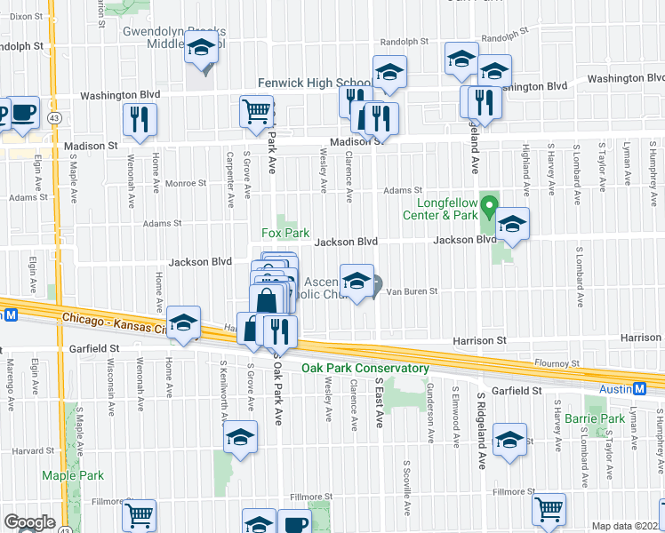 map of restaurants, bars, coffee shops, grocery stores, and more near 722 Wesley Avenue in Oak Park