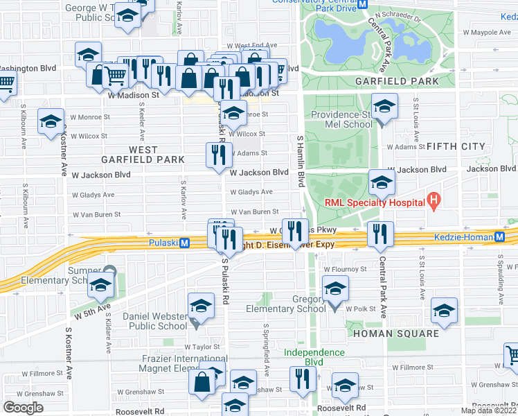 map of restaurants, bars, coffee shops, grocery stores, and more near 3900 West Van Buren Street in Chicago