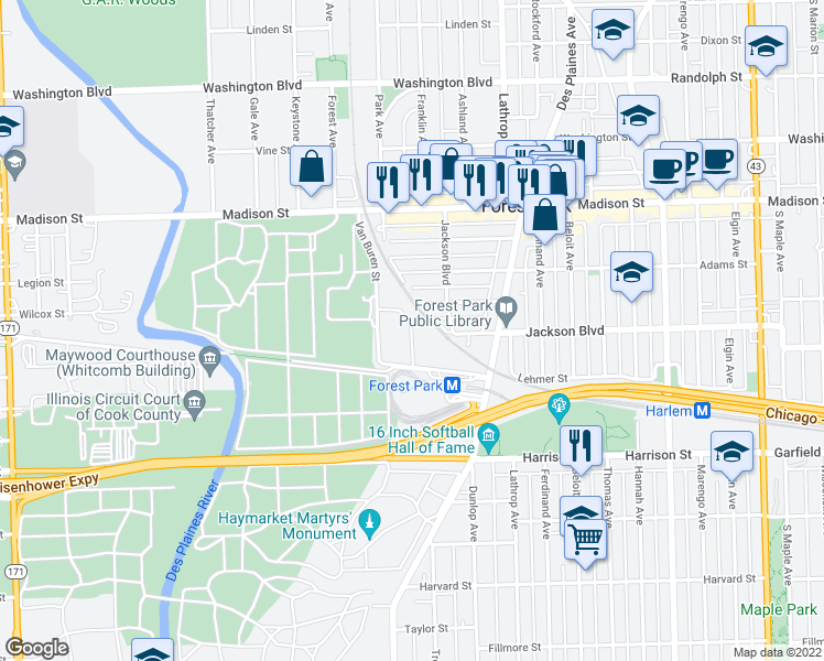 map of restaurants, bars, coffee shops, grocery stores, and more near Grove Lane in Forest Park
