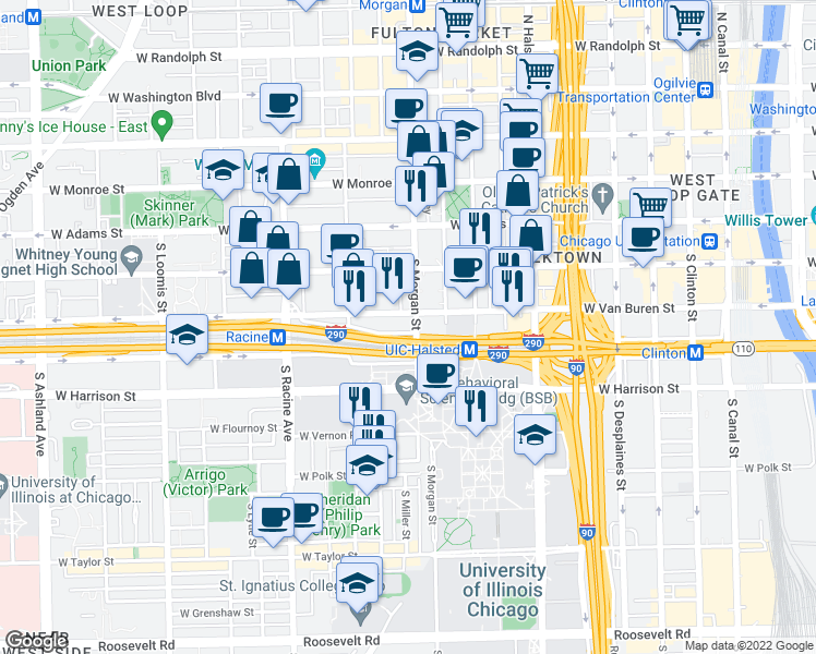 map of restaurants, bars, coffee shops, grocery stores, and more near 410 South Morgan Street in Chicago