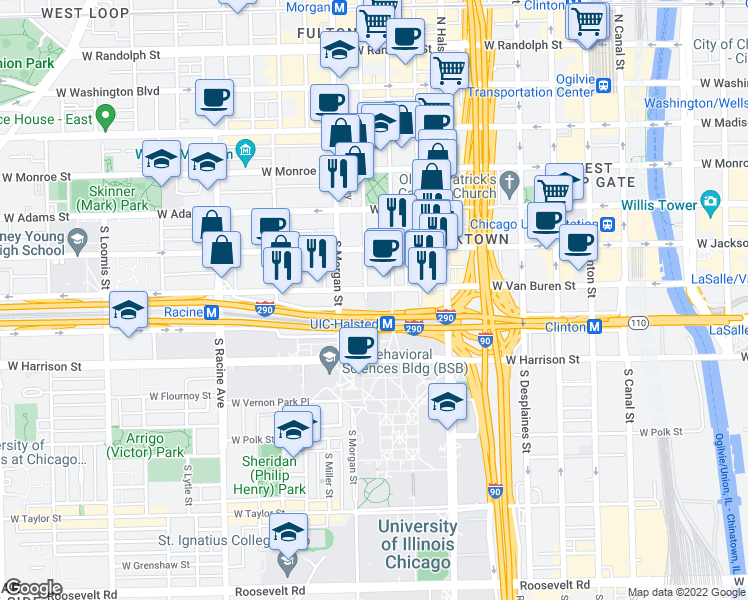 map of restaurants, bars, coffee shops, grocery stores, and more near 913 West Van Buren Street in Chicago