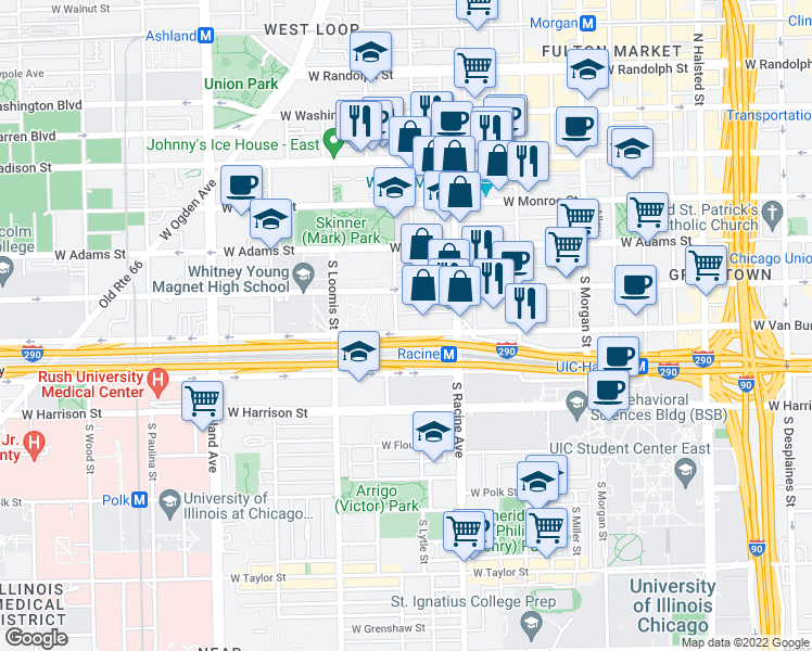 map of restaurants, bars, coffee shops, grocery stores, and more near 1250 West Van Buren Street in Chicago