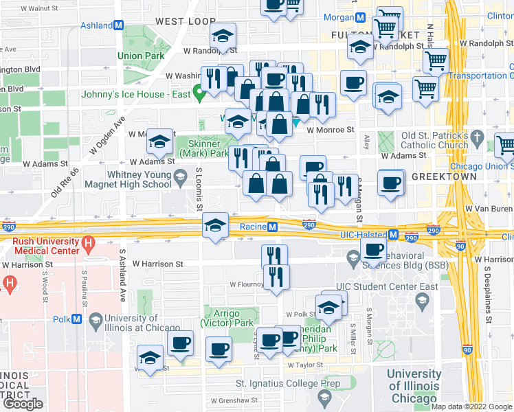 map of restaurants, bars, coffee shops, grocery stores, and more near 1224 West Van Buren Street in Chicago