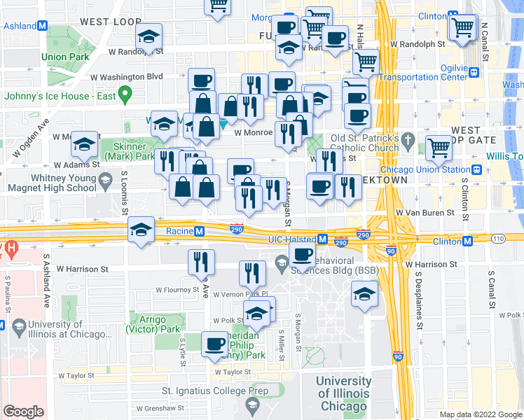 map of restaurants, bars, coffee shops, grocery stores, and more near 1036 West Van Buren Street in Chicago