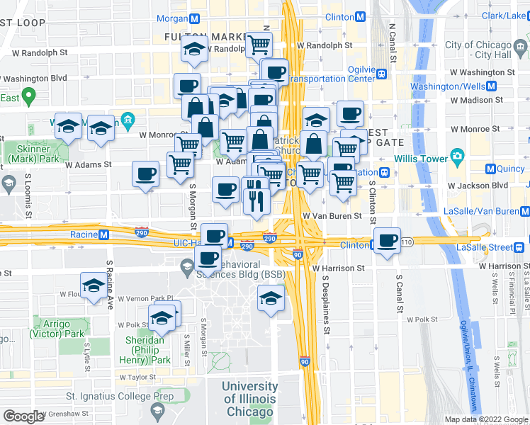 map of restaurants, bars, coffee shops, grocery stores, and more near 808 West Van Buren Street in Chicago