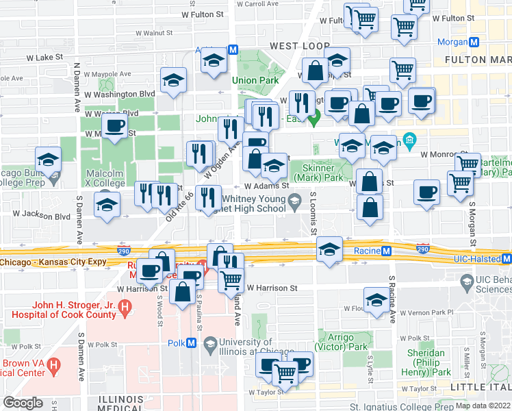 map of restaurants, bars, coffee shops, grocery stores, and more near 1528 West Jackson Boulevard in Chicago