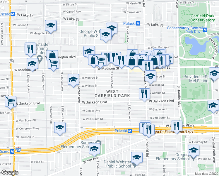 map of restaurants, bars, coffee shops, grocery stores, and more near 4209 West Wilcox Street in Chicago