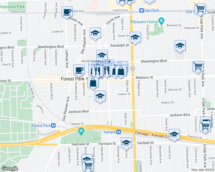 map of restaurants, bars, coffee shops, grocery stores, and more near 447 Circle Avenue in Forest Park