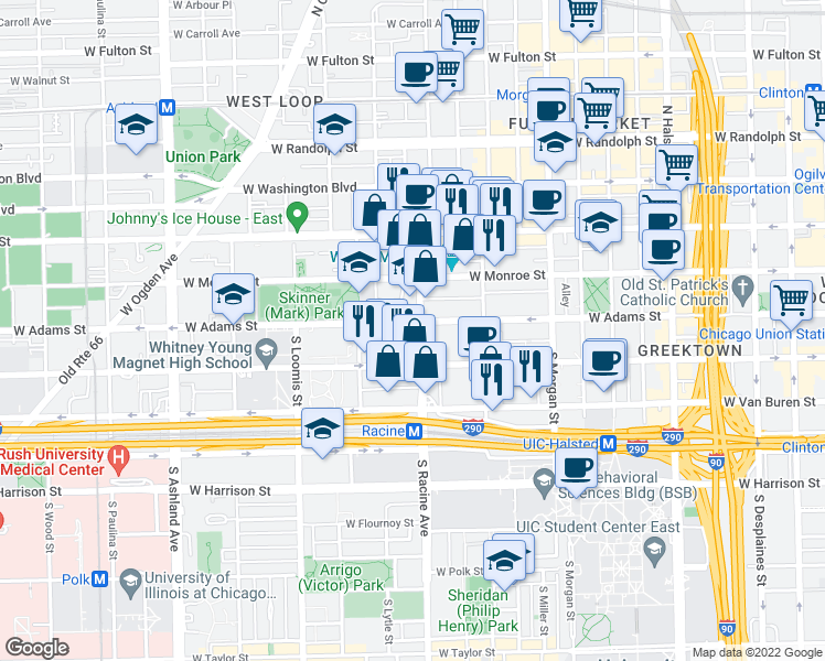 map of restaurants, bars, coffee shops, grocery stores, and more near 1201 West Adams Street in Chicago