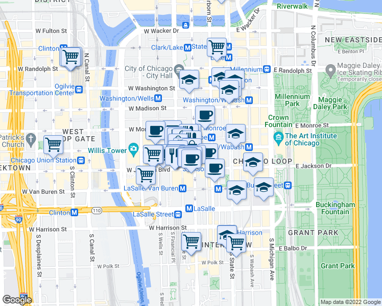 map of restaurants, bars, coffee shops, grocery stores, and more near 105 West Adams Street in Chicago