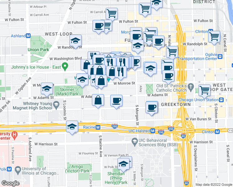 map of restaurants, bars, coffee shops, grocery stores, and more near 134 South Aberdeen Street in Chicago