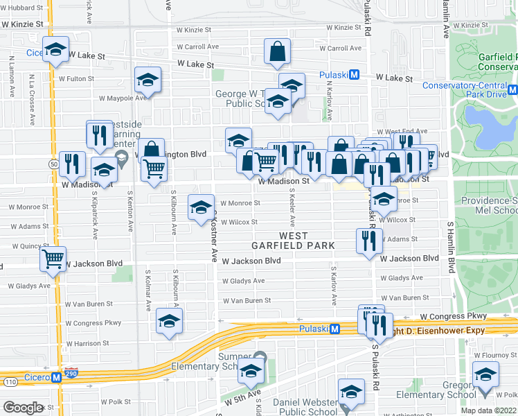 map of restaurants, bars, coffee shops, grocery stores, and more near 4255 West Monroe Street in Chicago