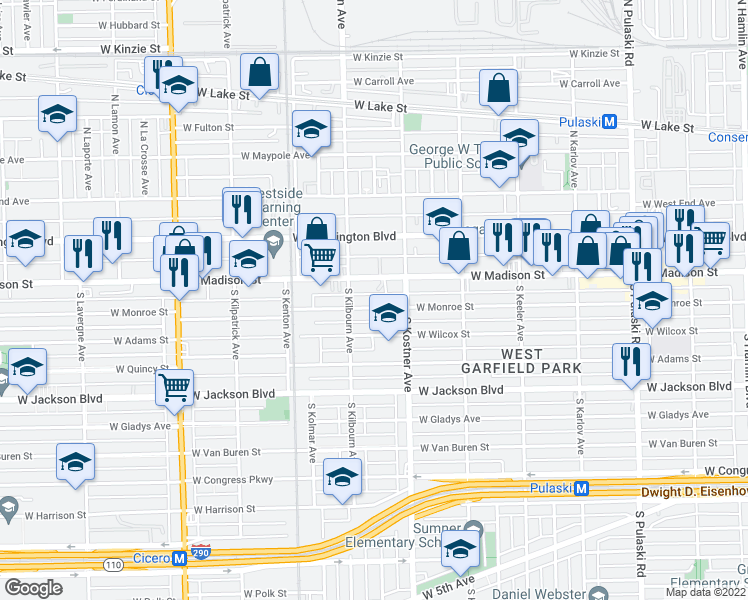 map of restaurants, bars, coffee shops, grocery stores, and more near 4434 West Monroe Street in Chicago
