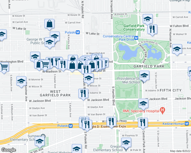 map of restaurants, bars, coffee shops, grocery stores, and more near 3908 West Monroe Street in Chicago