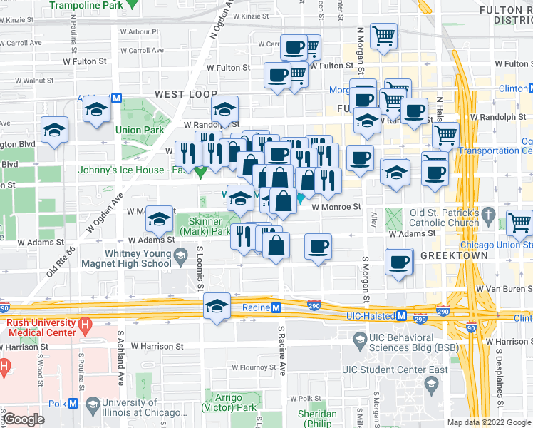 map of restaurants, bars, coffee shops, grocery stores, and more near 1217 West Monroe Street in Chicago