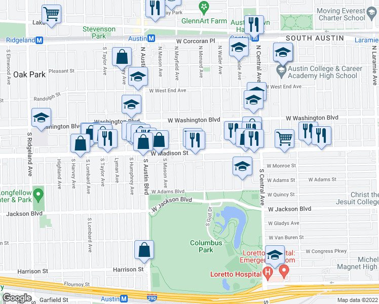 map of restaurants, bars, coffee shops, grocery stores, and more near 5835 West Madison Street in Chicago