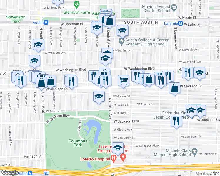 map of restaurants, bars, coffee shops, grocery stores, and more near 3 S Central Ave in Chicago