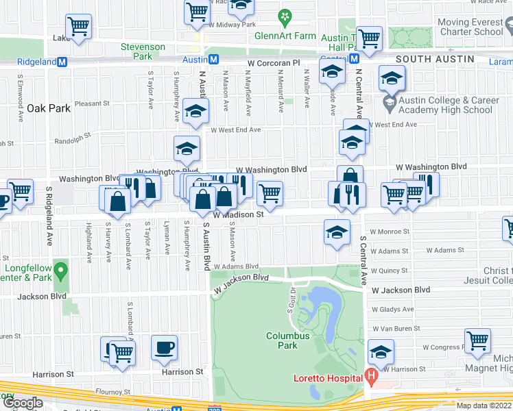 map of restaurants, bars, coffee shops, grocery stores, and more near 5836 West Madison Street in Chicago