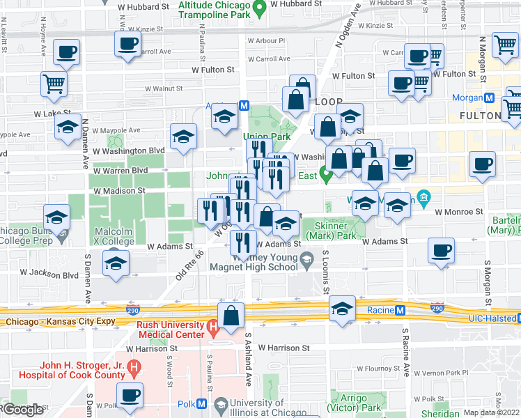 map of restaurants, bars, coffee shops, grocery stores, and more near 1538 West Monroe Street in Chicago