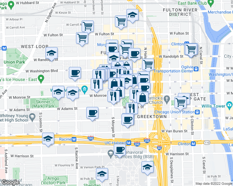 map of restaurants, bars, coffee shops, grocery stores, and more near 950 West Monroe Street in Chicago