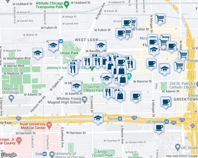 map of restaurants, bars, coffee shops, grocery stores, and more near 1330 West Monroe Street in Chicago