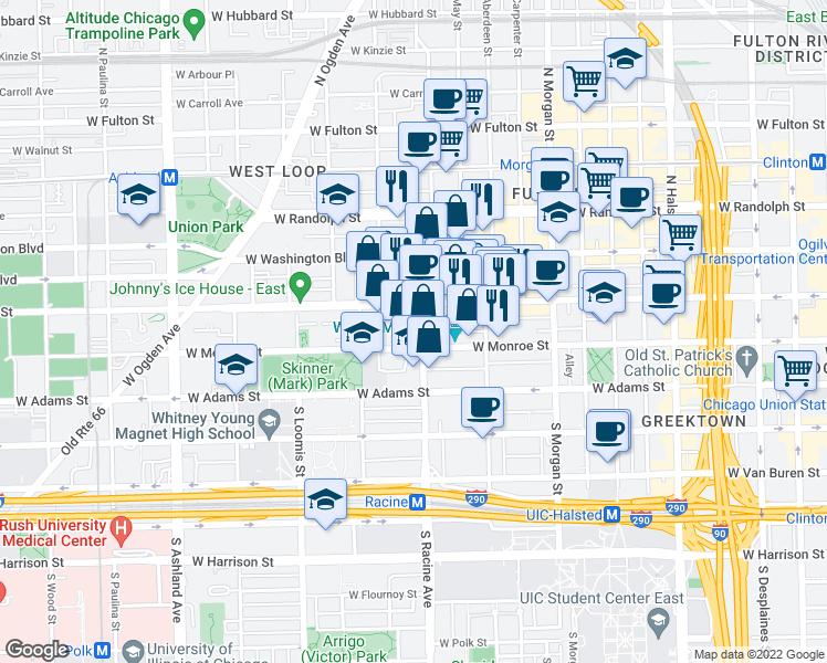 map of restaurants, bars, coffee shops, grocery stores, and more near 1200 West Monroe Street in Chicago