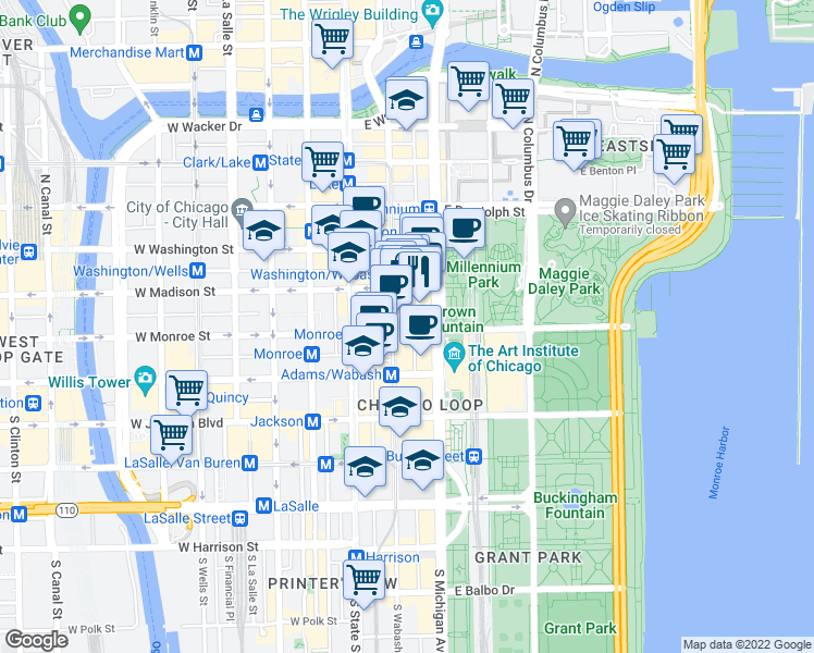 map of restaurants, bars, coffee shops, grocery stores, and more near 60 East Monroe Street in Chicago