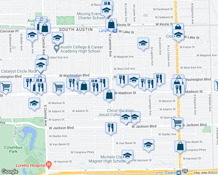 map of restaurants, bars, coffee shops, grocery stores, and more near 18 North Laramie Avenue in Chicago