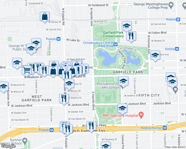 map of restaurants, bars, coffee shops, grocery stores, and more near 6 North Hamlin Boulevard in Chicago