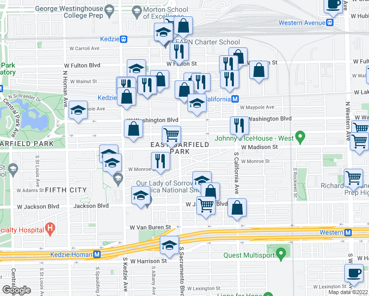 map of restaurants, bars, coffee shops, grocery stores, and more near 2945 West Warren Boulevard in Chicago