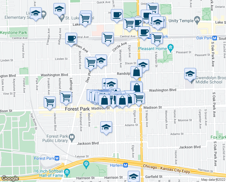 map of restaurants, bars, coffee shops, grocery stores, and more near 300 Circle Avenue in Forest Park