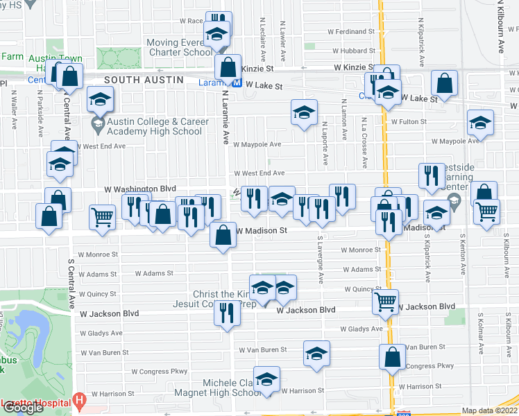 map of restaurants, bars, coffee shops, grocery stores, and more near 5109 West Washington Boulevard in Chicago